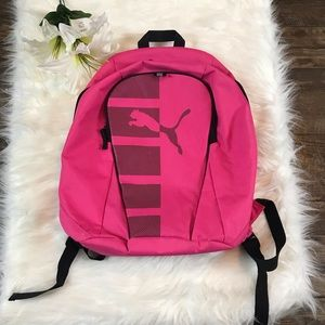 Puma Pink Canvas Double Zip Backpack